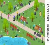people sorting waste rubbish... | Shutterstock .eps vector #1259852725