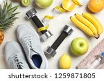 flat lay composition with sport ... | Shutterstock . vector #1259871805