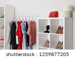wardrobe shelves with different ... | Shutterstock . vector #1259877205