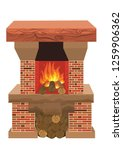 fireplace in which fire burns ... | Shutterstock .eps vector #1259906362