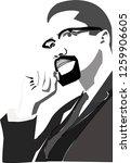 malcolm x portrait  | Shutterstock .eps vector #1259906605