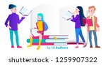 group of students reading books....   Shutterstock .eps vector #1259907322