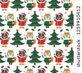 seamless pattern with forest...   Shutterstock .eps vector #1259910412