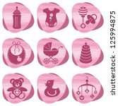 set of baby girl icons | Shutterstock .eps vector #125994875