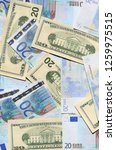 Small photo of Paper money of the EU and the United States, Banksey twenty euros and twenty dollars