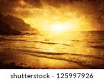 Seascape Sunset In Grunge And...