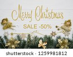 board with post merry christmas ... | Shutterstock . vector #1259981812