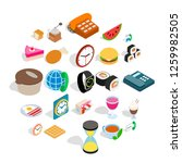culinary icons set. isometric... | Shutterstock . vector #1259982505