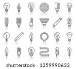 light bulb thin line icon set.... | Shutterstock .eps vector #1259990632