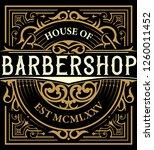 barbershop logo with  vintage... | Shutterstock .eps vector #1260011452