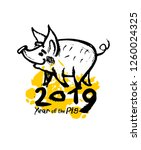 year of the pig 2019 hand drawn ...   Shutterstock .eps vector #1260024325