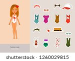 doll game  beach series. a girl ... | Shutterstock .eps vector #1260029815