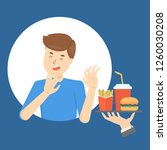 man with food aversion or...   Shutterstock .eps vector #1260030208