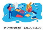 pos terminal for payment by...   Shutterstock .eps vector #1260041608