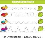 handwriting practice sheet....   Shutterstock .eps vector #1260050728