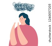 anxiety vector concept... | Shutterstock .eps vector #1260057205