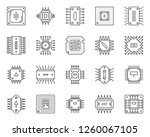 microchip thin line icon set.... | Shutterstock .eps vector #1260067105