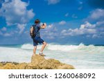 young man traveler on amazing... | Shutterstock . vector #1260068092