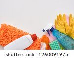 cleaning tools. spray bottle... | Shutterstock . vector #1260091975