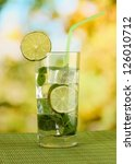 glass of water with ice  mint... | Shutterstock . vector #126010712