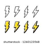 cartoon lightning doodle set.... | Shutterstock . vector #1260123568