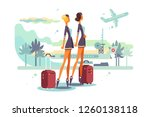 charming stewardess with... | Shutterstock .eps vector #1260138118