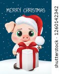 cute pig character. happy new... | Shutterstock .eps vector #1260142342