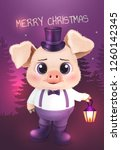 cute pig character. happy new... | Shutterstock .eps vector #1260142345