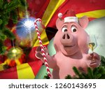 happy new year pink pig against ... | Shutterstock . vector #1260143695