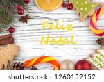 greeting card with text merry... | Shutterstock . vector #1260152152
