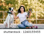 Stock photo  lifestyle portrait of beautiful young brunette girl with little cat and big hound dog sitting 1260155455