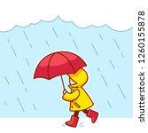 Little Kid With Raincoat  Rain...
