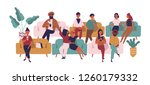 people sitting on sofas in... | Shutterstock .eps vector #1260179332