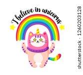 cute cartoon vector doodle cat. ... | Shutterstock .eps vector #1260203128