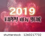 happy new year 2019 words on... | Shutterstock . vector #1260217732