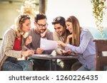 group of four friends having... | Shutterstock . vector #1260226435