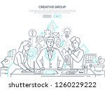 Stock vector creative group modern line design style web banner on white background high quality composition 1260229222