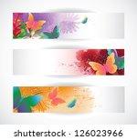 butterfly banners eps 8 vector   Shutterstock .eps vector #126023966