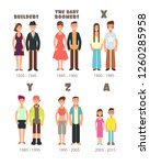 baby boomer  x generation... | Shutterstock . vector #1260285958