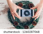 woman take a picture of...   Shutterstock . vector #1260287068