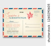 old christmas greeting card... | Shutterstock .eps vector #1260290605
