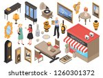 antique shop isometric set of... | Shutterstock .eps vector #1260301372