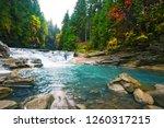 waterfall on a mountain river... | Shutterstock . vector #1260317215