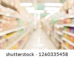 abstract blurred of shelves in... | Shutterstock . vector #1260335458