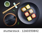 mochi assortment on plate with... | Shutterstock . vector #1260350842