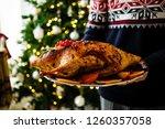 homemade baked duck on plate in ... | Shutterstock . vector #1260357058