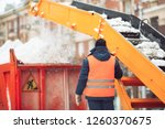 snow cleaning tractor snow... | Shutterstock . vector #1260370675