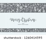 merry christmas with decorative ... | Shutterstock .eps vector #1260414595