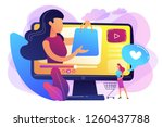 business woman enjoys video... | Shutterstock .eps vector #1260437788
