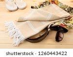 handwoven hammam turkish cotton ...   Shutterstock . vector #1260443422